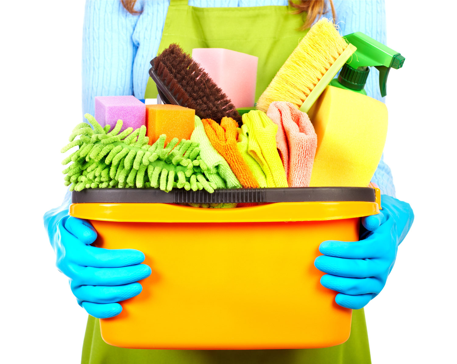 a close-up of bucket filled with cleaning equipment being held by someone wearing rubber gloves