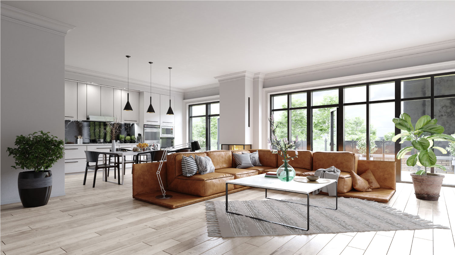 a modern living room with kitchen area and glazed doors to the outside